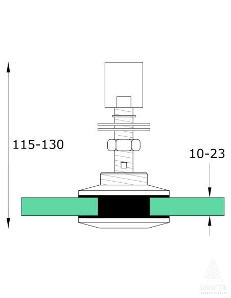 نقشه فنی رتیل برند آراد استیل شیشه خور تا 23 میل